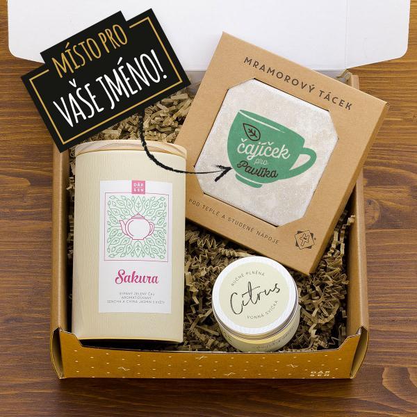Dárkový balíček se zeleným čajem a citrusovou svíčkou