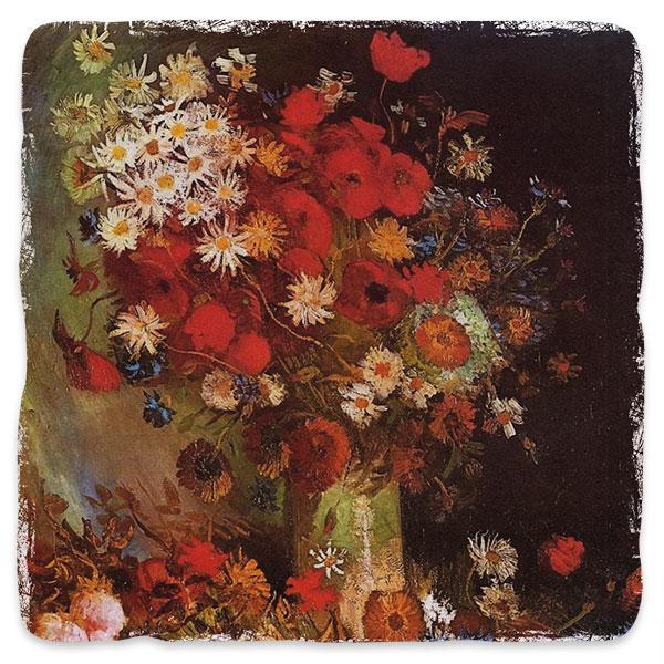 Váza s vlčím mákem, chrpami, pivoňkami a chryzantémy